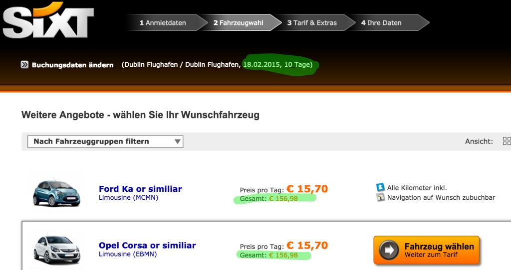 10 Tage Auto mieten für nur 150€