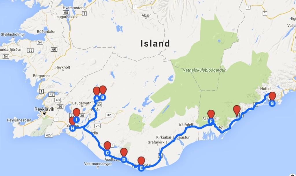 Unsere Route im Süden Islands. Die größten Hotspots markiert.